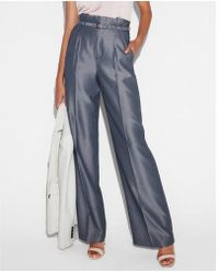 Express - High Waisted Belted Tie Waist Wide Leg Dress Pant - Lyst