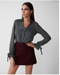 Express - Slim Fit No Pocket Cinched Cuff Portofino Shirt - Lyst