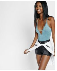 Express - One Eleven Burnout Deep V Thong Bodysuit - Lyst