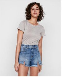 Express - High Waisted Distressed Denim Cutoff Shorts - Lyst