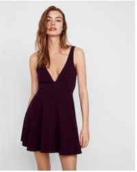 Express - Tite Deep V-wire Fit And Flare Skort Dress - Lyst