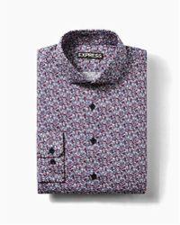 Express - Slim Floral Print Cotton Dress Shirt - Lyst