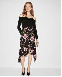 Express - Floral Asymmetrical Slit Front Midi Skirt - Lyst