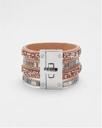 Express - Tripe Stone Turnlock Cuff Bracelet - Lyst