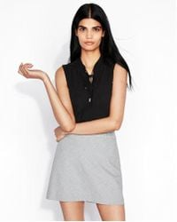 Express - High Waisted Mini Check Clean A-line Mini Skirt - Lyst