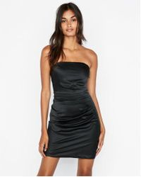 Express - Strapless Ruched Mini Dress - Lyst