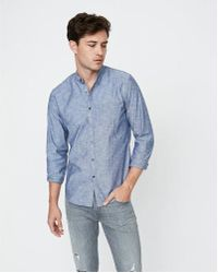Express - Slim Band Collar Button Front Shirt - Lyst