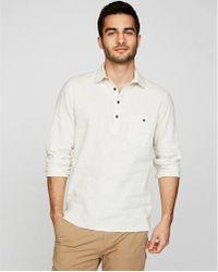 Express | Slim Striped Linen Popover Shirt | Lyst