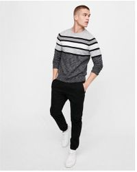 Express - Striped Crew Neck Sweater - Lyst