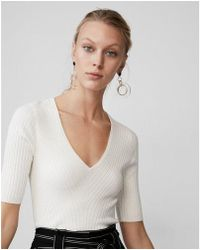 Express - Petite Elbow Sleeve Ribbed Pullover Sweater - Lyst