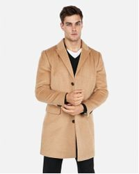Express - Camel Recycled Wool-blend Topcoat - Lyst