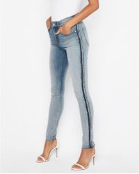 cfbc8065eb9ca0 Express - High Waisted Denim Perfect Curves Seam Detail Jeggings, - Lyst
