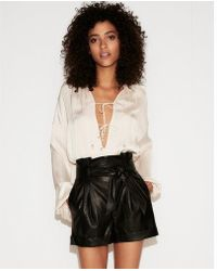 Express - High Waisted Faux Leather Paperbag Shorts - Lyst