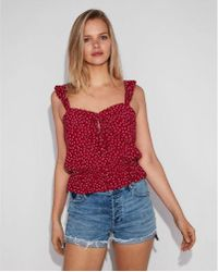 Express - Dotted V-neck Ruffle Tank - Lyst