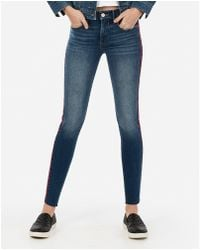 Express - Mid Rise Denim Perfect Side Stripe Raw Ankle Leggings Blue - Lyst