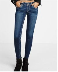Express - Low Rise Contrast Thick Stitch Stretch Jeggings, Women's Size:00 Short - Lyst