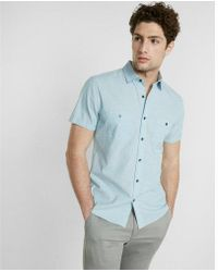 Express - Slim Slub Short Sleeve Shirt - Lyst