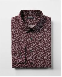 Express - Slim Fit Cotton Floral Print Dress Shirt - Lyst