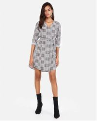 Express - Plaid Covered Button Front Shirt Dress - Lyst