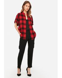 Express Plaid Short Sleeve Flannel Shirt Red Print