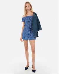 Express - Printed Off The Shoulder Ruffle Romper - Lyst