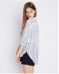 Express - Striped Oversized Button-up Shirt - Lyst