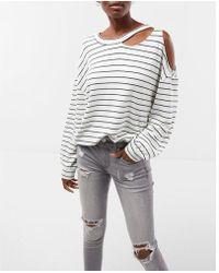 Express - Striped Slash Neck Cold Shoulder Sweatshirt - Lyst