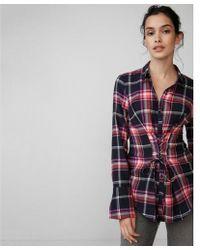 Express - Corset Front Cotton Flannel Shirt - Lyst