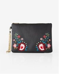 Express - Floral Embroidered Wristlet - Lyst
