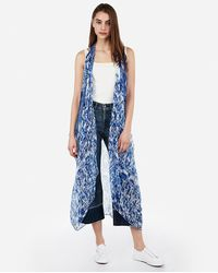 Express Ikat Open Front Swim Cover-up - Blue