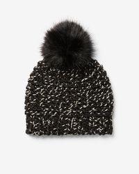 Express - Marled Chunky Knit Pom Beanie - Lyst
