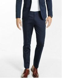 Express - Extra Slim Navy Cotton Sateen Suit Pant - Lyst