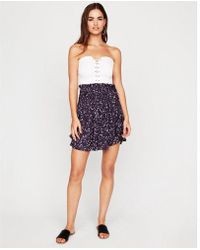 Express - Floral Smocked Mini Skirt - Lyst