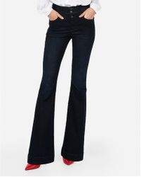 Express - High Waisted Button Fly Flare Jeans, - Lyst