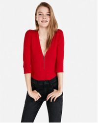 Express - Petite One Eleven Deep V Front Zip Thong Bodysuit - Lyst aad170e95