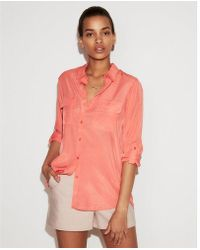 Express - Petite Solid City Shirt - Lyst