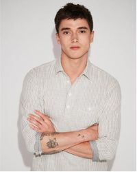 Express - Slim Stripe Long Sleeve Popover Shirt - Lyst