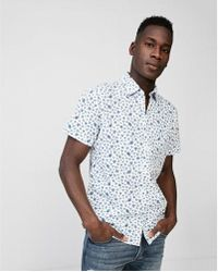 Express - Slim Floral Short Sleeve Cotton Shirt - Lyst