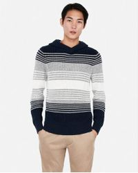 Express - Stripe Cable Knit Hooded Sweater - Lyst
