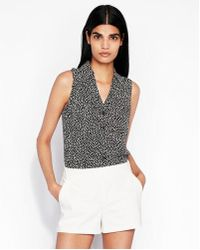 Express - Slim Fit Polka Dot Sleeveless Portofino Shirt - Lyst