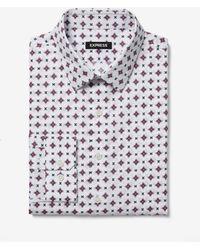 Express - Slim Paragon Print Cotton Dress Shirt White - Lyst