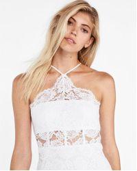 Express - Lace Corset Detail Halter Neck Dress - Lyst