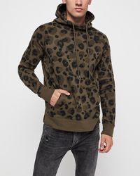 Express - Leopard Print Fleece Hoodie Green - Lyst