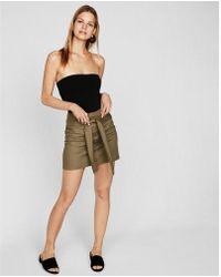 Express - Button Front Tie Waist Mini Skirt - Lyst