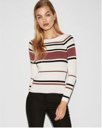 Express - Striped Ribbed Bateau Neck Sweater - Lyst