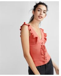 Express - Corset Front Double V-neck Sweater - Lyst
