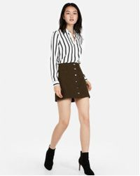 Express - Snap Front A-line Mini Skirt - Lyst