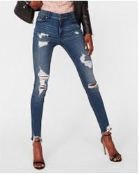 Express | High Waisted Destroyed Denim Perfect Stretch+ Ankle Leggings | Lyst