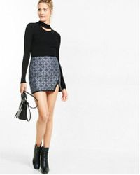 Express High Waisted Geo Jacquard Asymmetircal Mini Skirt