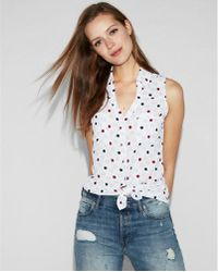 Express - Slim Fit Polka Dot Sleeveless Portofino Shirt - Lyst